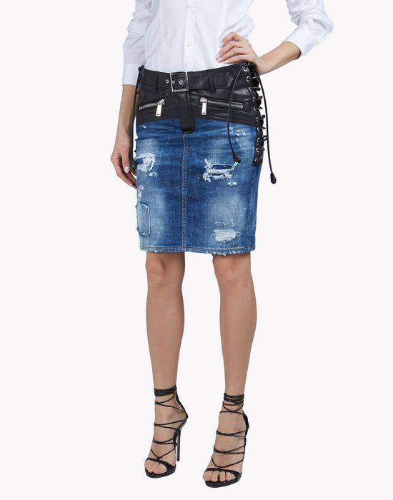 leather-trim denim skirt jupes Femme Dsquared2