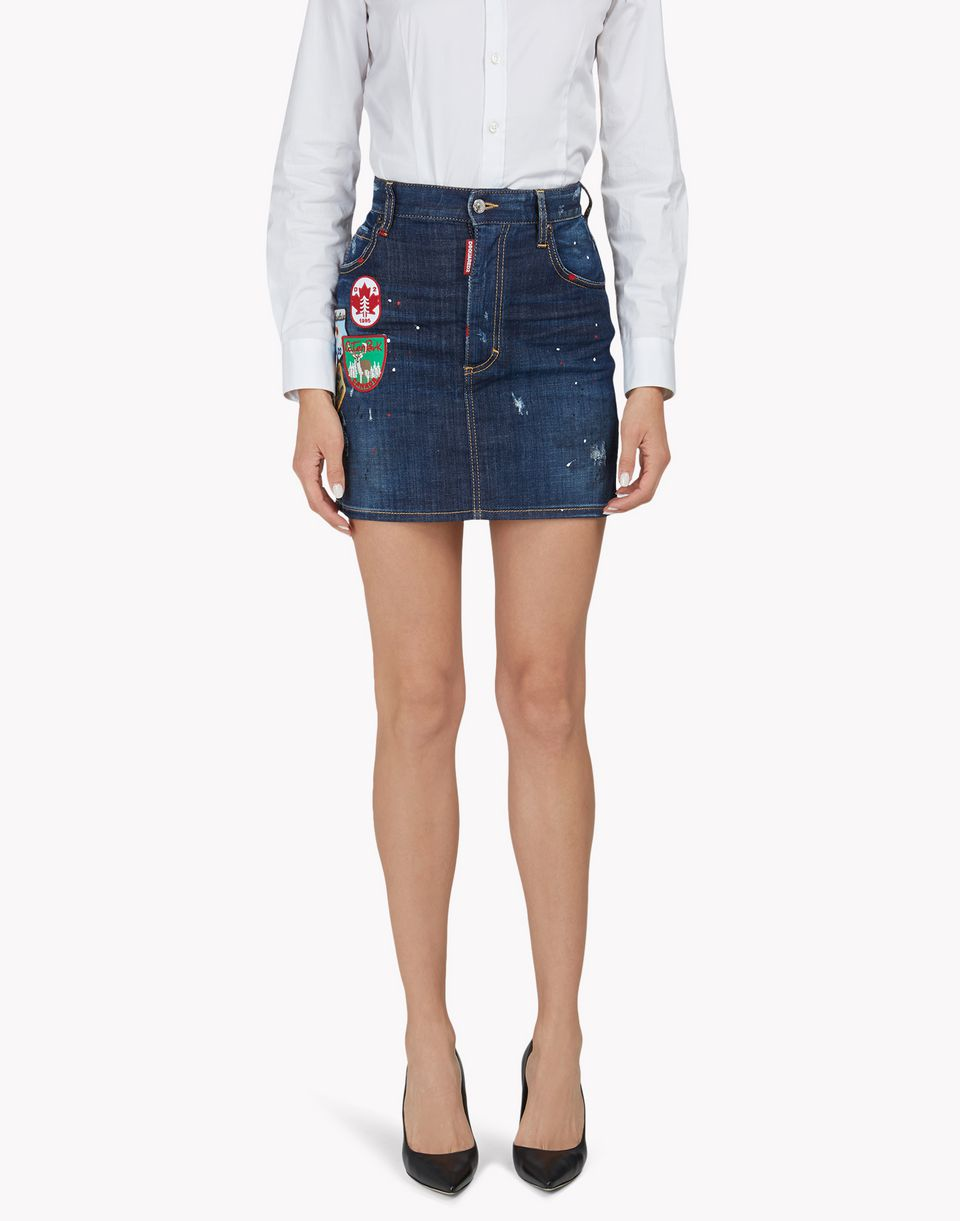 patch denim skirt röcke Damen Dsquared2