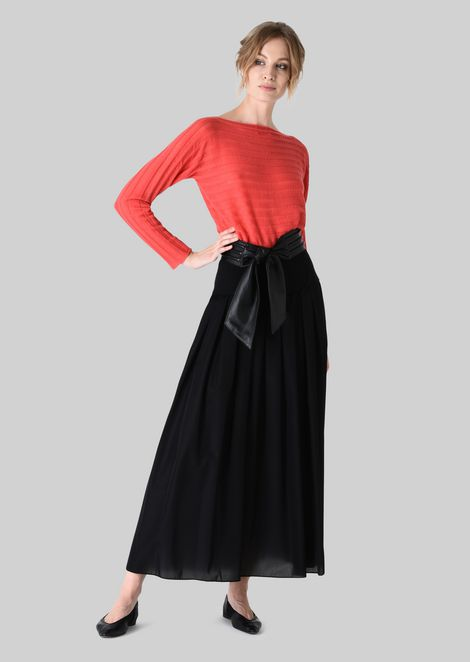 LONG SKIRT IN TECHNICAL CRÊPE DE CHINE.: Skirts Women by Armani - 1