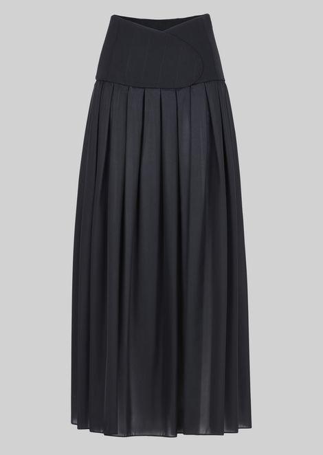 LONG SKIRT IN TECHNICAL CRÊPE DE CHINE.: Skirts Women by Armani - 2