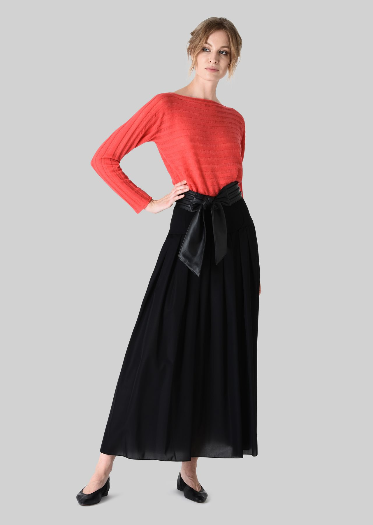 LONG SKIRT IN TECHNICAL CRÊPE DE CHINE.: Skirts Women by Armani - 0