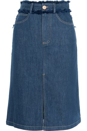 씨 바이 클로에 데님 청치마 SEE BY CHLOÉ Fringe-trimmed denim skirt,Dark denim