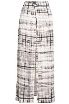 조셉 JOSEPH Checked satin-crepe wrap skirt,Gray
