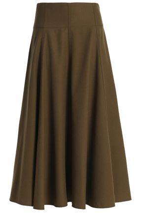조셉 울 미디 스커트 아미 그린 JOSEPH Wool-twill midi skirt,Army green