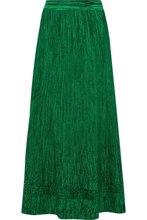 산드로 SANDRO Meg pointelle-trimmed stretch-knit midi skirt,Green