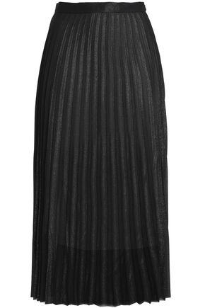 산드로 SANDRO Pleated metallic georgette midi skirt,Black