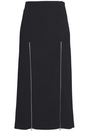 마쥬 MAJE Jona zip-embellished cotton-blend midi skirt,Black