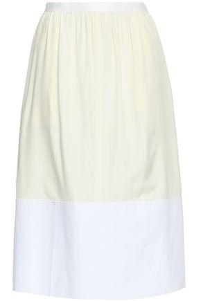 조셉 JOSEPH Two-tone cotton poplin-paneled silk skirt,Cream