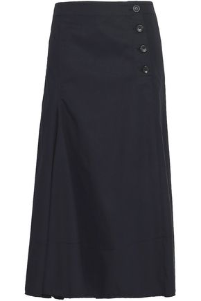 조셉 JOSEPH Button-detailed cotton-twill midi skirt,Navy