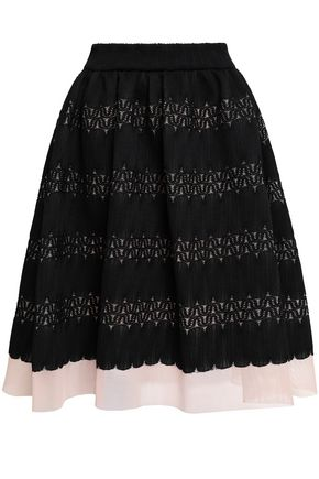 마쥬 MAJE Jarod flared layered lace and mesh skirt,Black