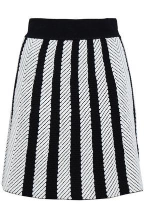 마쥬 MAJE Jasper striped jacquard-knit mini skirt,Ivory