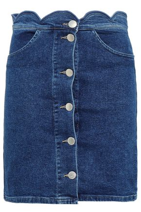 마쥬 MAJE Jaron scalloped denim mini skirt,Mid denim