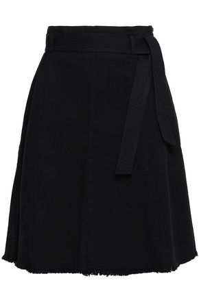 마쥬 MAJE Fringed denim skirt,Black