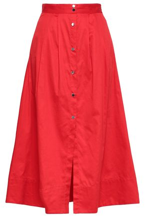 마쥬 MAJE Cotton-poplin midi skirt,Red