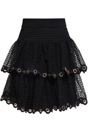 마쥬 MAJE Embellished tiered guipure lace mini skirt,Black
