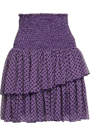 마쥬 MAJE Tiered shirred floral-print georgette mini skirt,Purple