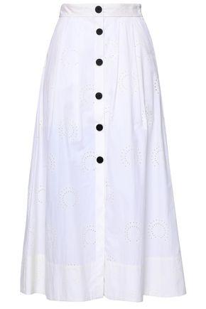 마쥬 MAJE Laser-cut cotton-poplin midi skirt,Ivory
