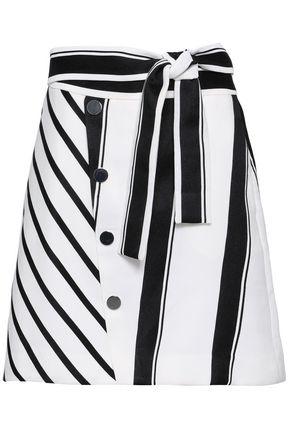마쥬 MAJE Button-embellished striped woven mini skirt,White