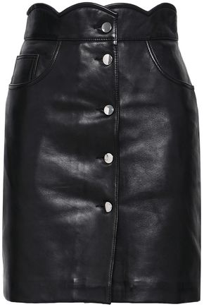마쥬 MAJE Scalloped leather mini skirt,Black