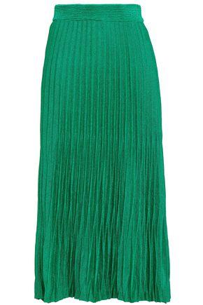 마쥬 MAJE Plisse metallic jersey midi skirt,Emerald