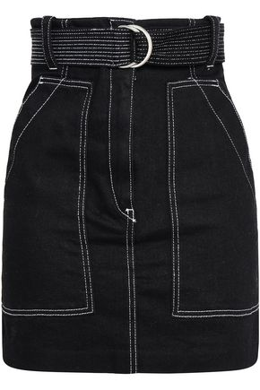 산드로 Sandro Cotton-gabardine mini skirt,Black