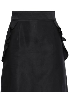 산드로 Sandro Ruffled cotton-blend mini skirt,Black