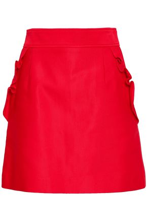 산드로 Sandro Ruffled cotton-blend mini skirt,Red