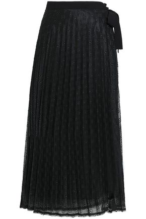 산드로 Sandro Pleated crochet-knit wrap midi skirt,Black
