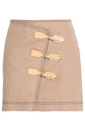 가니 GANNI Buckled cotton-twill mini skirt,Sand