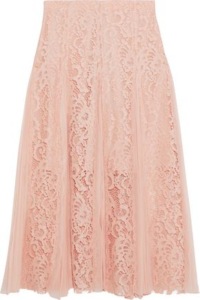 산드로 Sandro Pleated chiffon and corded lace midi skirt,Blush