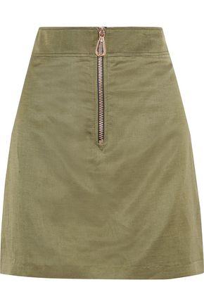 산드로 Sandro Erman zip-detailed woven mini skirt,Army green
