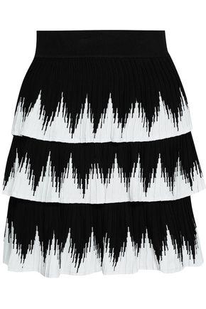 마쥬 MAJE Two-tone knitted mini skirt,Black