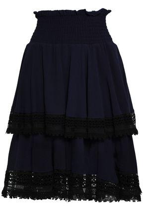 마쥬 MAJE Macrame-trimmed tiered crepe skirt,Navy