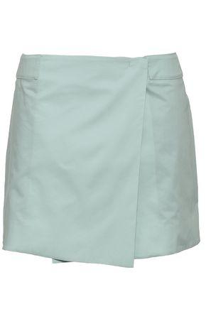 조셉 JOSEPH Zip-detailed cotton-poplin mini wrap skirt,Mint