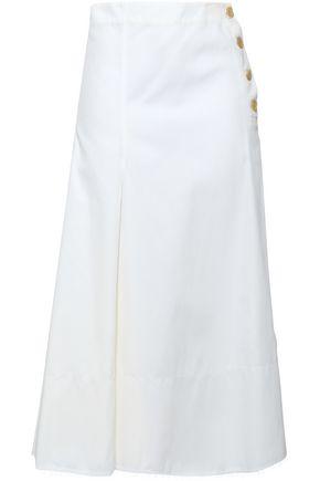 조셉 JOSEPH Button-detailed cotton-twill midi skirt,Ivory
