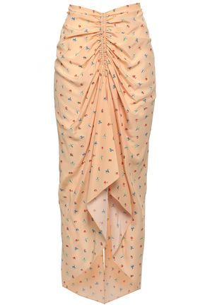 조셉 JOSEPH Ruched floral-print silk crepe de chine midi skirt,Pastel orange