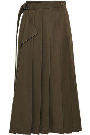 조셉 JOSEPH Pleated woven midi wrap skirt,Army green