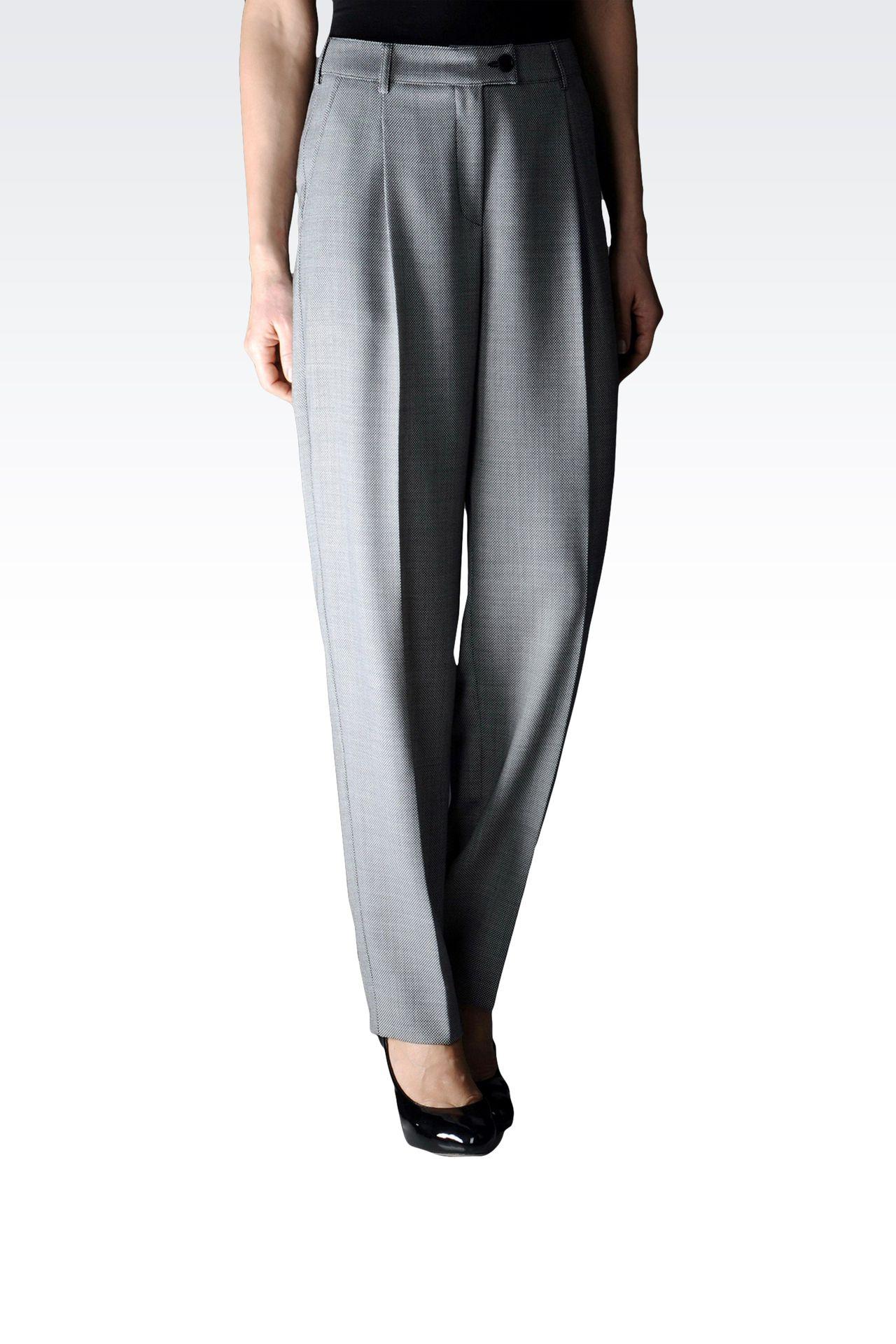 PANTALON À PINCES JACQUARD TAILLE HAUTE: Pantalons à pinces Femme by Armani - 0
