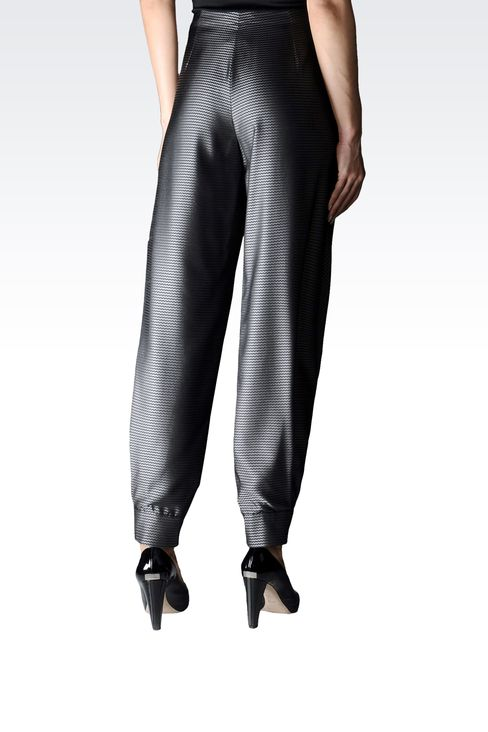 JACQUARD PANTS WITH ASYMMETRIC FASTENING: High-waist pants Women by Armani - 2