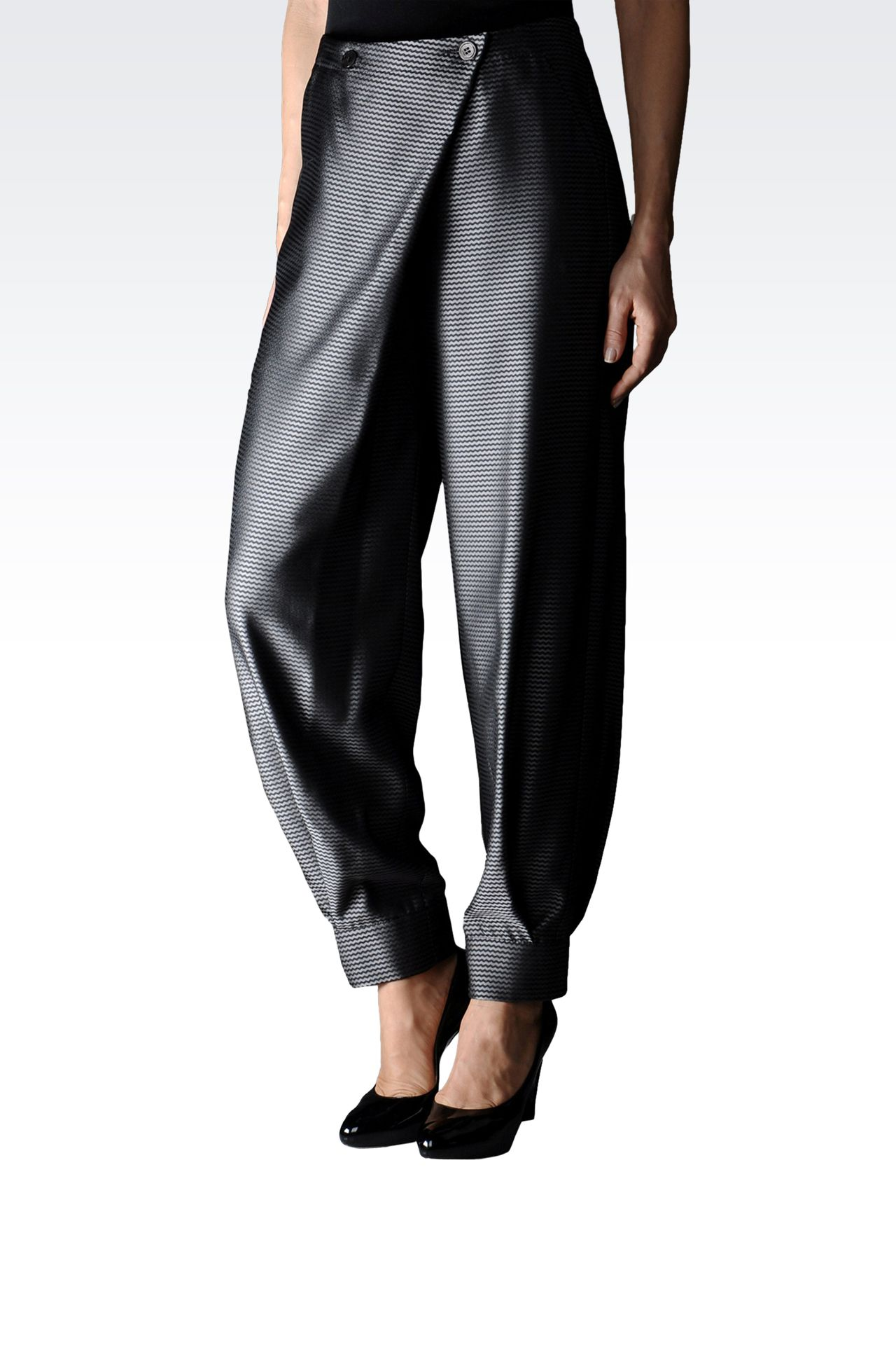 JACQUARD PANTS WITH ASYMMETRIC FASTENING: High-waist pants Women by Armani - 0