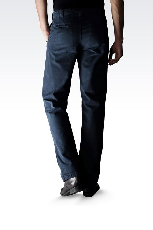 USED EFFECT COTTON PANTS: Straight leg pants Men by Armani - 2