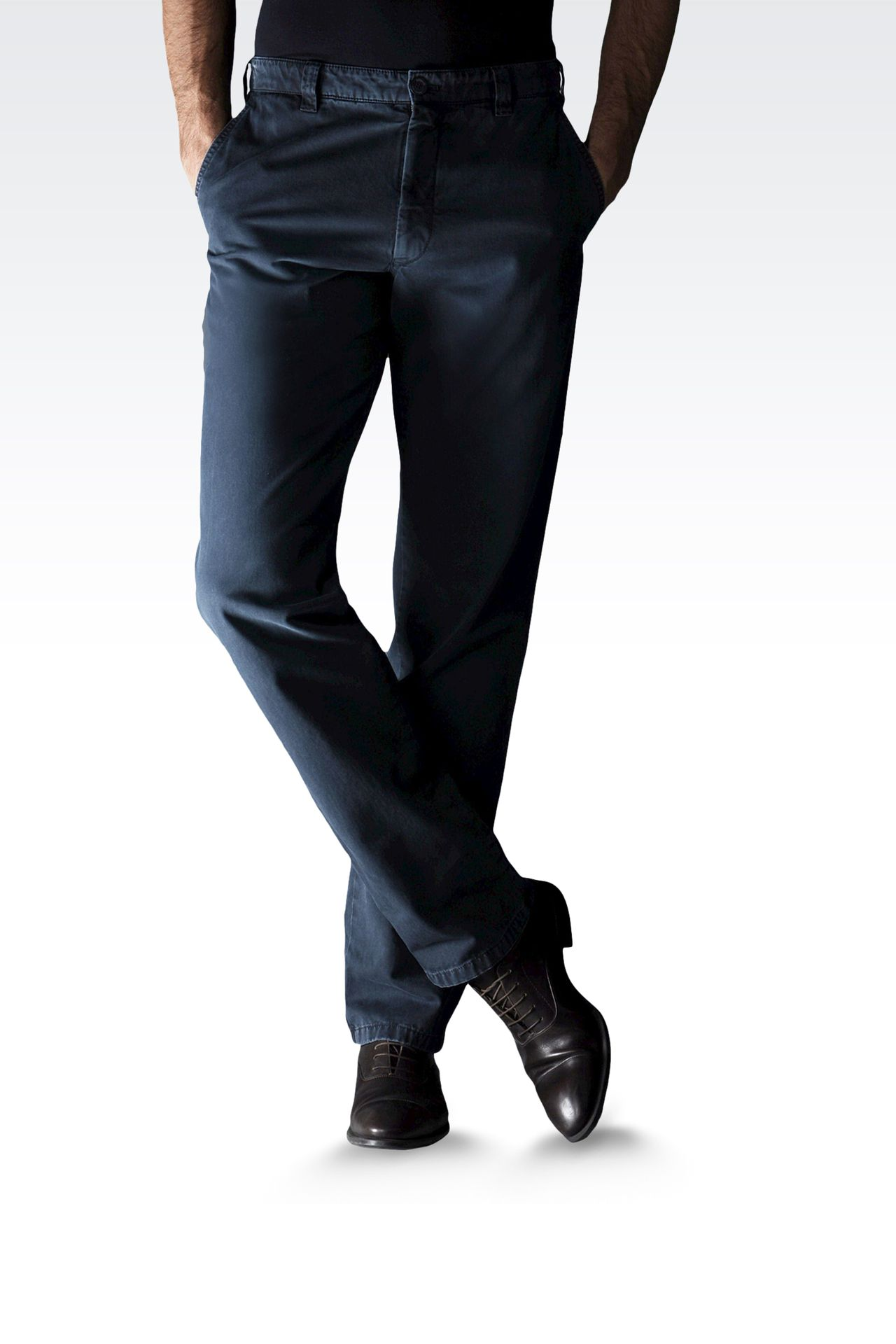 USED EFFECT COTTON PANTS: Straight leg pants Men by Armani - 0