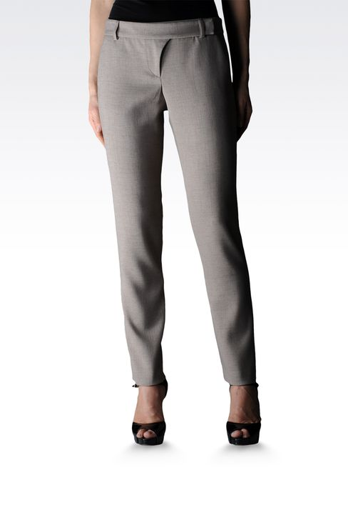 high waist cigarette pants in crêpe : Straight leg trousers Women by Armani - 1