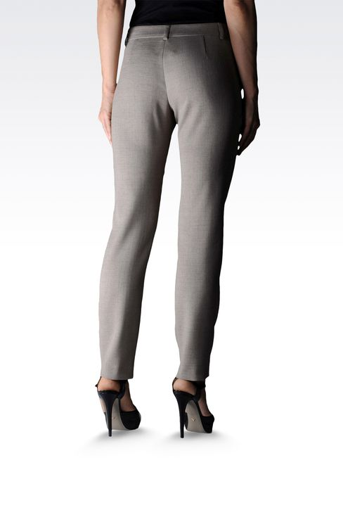 high waist cigarette pants in crêpe : Straight leg trousers Women by Armani - 2