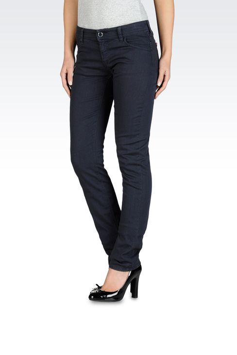 Slim fit stretch bull denim jeans, old wash: 5 pockets Women by Armani - 1
