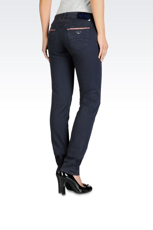 Slim fit stretch bull denim jeans, old wash: 5 pockets Women by Armani - 2