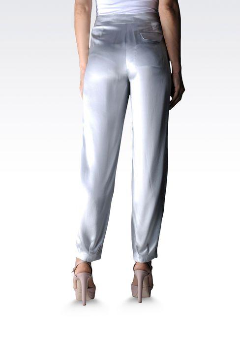 high waist silk pants with darts: Pants with tucks Women by Armani - 2