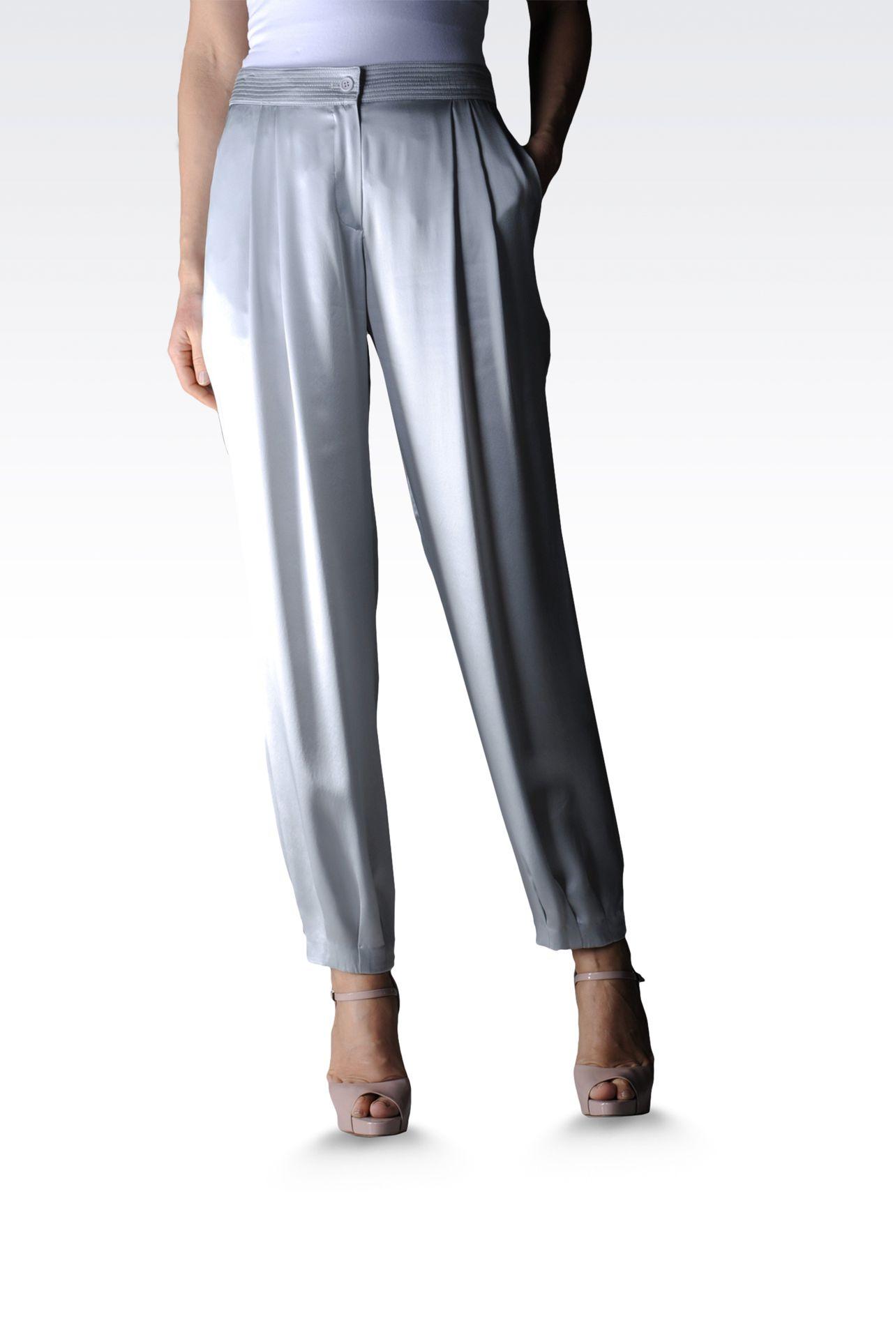 high waist silk pants with darts: Pants with tucks Women by Armani - 0