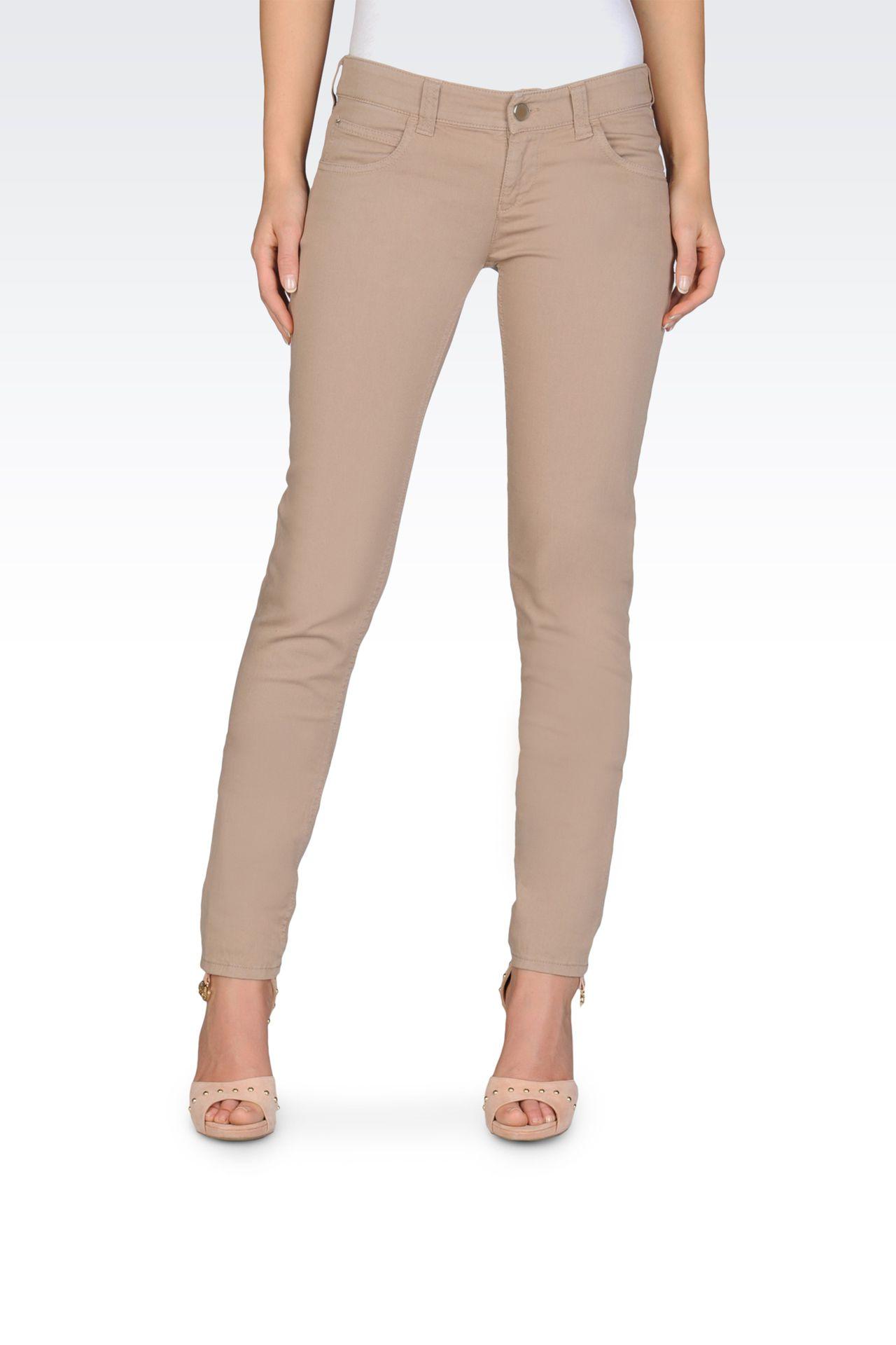 Stretch bull denim skinny jeans, old wash: 5 pockets Women by Armani - 0