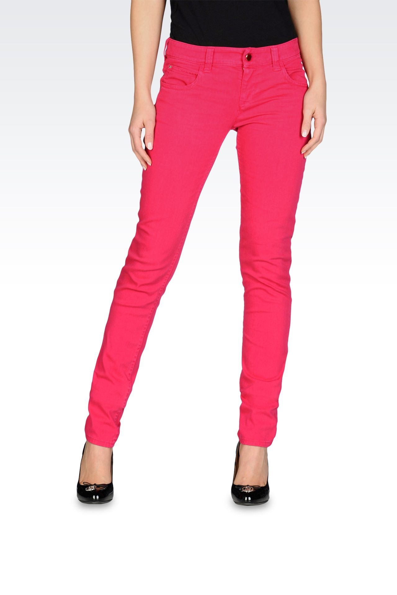 Stretch bull denim skinny jeans, old wash: 5 pockets Women by Armani - 0